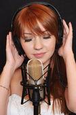 Girl with headphones. — Stock Photo