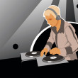 DJ with sound equipment - Stock Vector