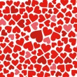 Red hearts background on white — Stock Vector