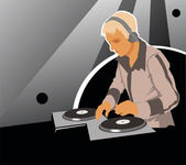 DJ with sound equipment — Stock Vector