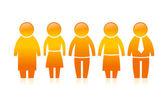 Fünf völker — Stockvektor