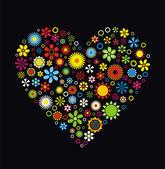 Corazón de flores — Vector de stock