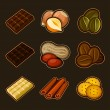 Chocolate and coffee icon set — Vector de stock