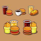 Conjunto de ícones de fast-food do colorido dos desenhos animados. — Vetorial Stock