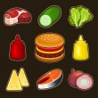 Burger icons set — Stock Vector