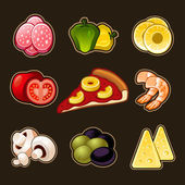 Pizza icons set — Stock Vector