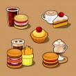 Set of colorful cartoon fast food. — Stock Vector