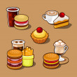 Set of colorful cartoon fast food. — Imagen vectorial