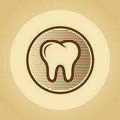 Tooth logo in retro style. — Stock Vector