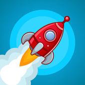 火箭飞上蓝天 — 图库矢量图片