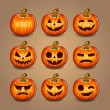Stock Vector: Halloween Pumpkins set. Vector.