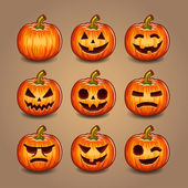 Halloween Pumpkins set. Vector. — Vector de stock