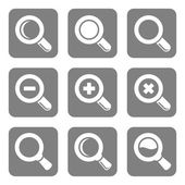 Vector Magnifier Glass and Zoom Icons set — Stock Vector