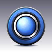Bouton brillant bleu avec des éléments métalliques — Vecteur