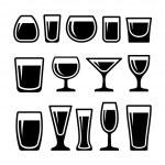 set van drinken glazen pictogrammen — Stockvector