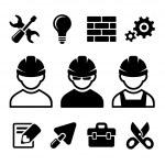 Industrial worker icons set — Stock Vector