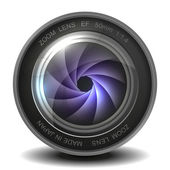 Camera photo lens with shutter. — Stock vektor