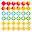 Set of brightly colored pie charts. — Stock Vector #33875055