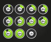 Set van vooruitgang indicator cirkels — Stockvector