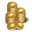 Stacks of golden coins — Stock Vector