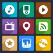 Multimedia flat icons set 1 — Stock Vector