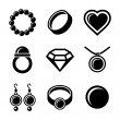 Jewelry Icons set — Vettoriale Stock #35429575