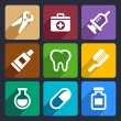 Dental flat icons set 9 — Stock Vector