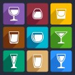 Drink glasses icons set 16 — Stockvectorbeeld