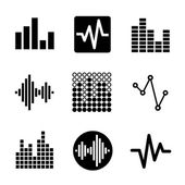 Music soundwave icons set — Stock Vector