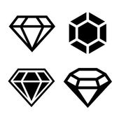 Diamond vector icons set — Stok Vektör