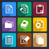 Documents and folders flat icons set 19 — Stockvector