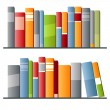 Books in a row on white background — Stock Vector