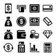 Money and bank icon set — Stock Vector
