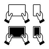 Iconos conjunto de manos que sostienen el teléfono inteligente y la tableta — Vector de stock