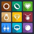 Stockvektor : Jewelry flat Icons set 33