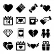 Valentine day love icons set. — Stock Vector
