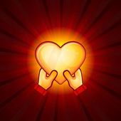 Gold Heart And Hands On Red Background — Vecteur