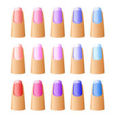 Nail polish in different hues. — Stock Vector