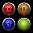 Xxx buttons icons set. Red, orange, blue and green. — Stock Vector