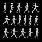 Phases of Step Movements Man in Walking Sequence for Game Animation on black — Stock Vector