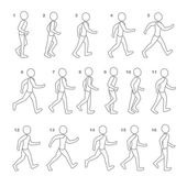 Phases of Step Movements Man in Walking Sequence for Game Animation — Stock Vector
