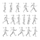 Phases of Step Movements Man in Walking Sequence for Game Animation on white — Stock Vector