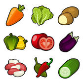 Glossy vegetable set — Stock Vector