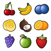 Set fruit icons — Stock Vector