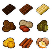 Chocolate and coffee icon set — Stock Vector