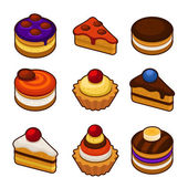 Set of cupcakes icons — Stock Vector