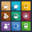 Stock Vector: Coffee Flat Icons Set 43