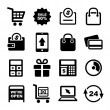 图库矢量图片: Shopping and Supermarket Services Icons Set