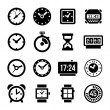 Clocks Icons Set on White Background — Vettoriale Stock