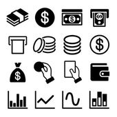 Money and business icon set — Stock Vector